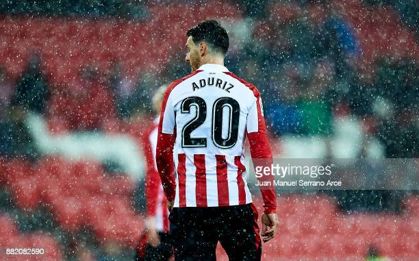Aritz Aduriz of Athletic Club reacts during the Copa del Rey Round of 32 Second Leg match between Athletic Club and SD Formentera at San Mames...