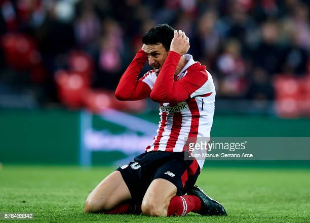 Aritz Aduriz of Athletic Club reacts during the La Liga match between Athletic Club Bilbao and Villarreal CF at San Mames Stadium on November 19 2017...