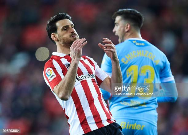 Aritz Aduriz of Athletic Club reacts during the La Liga match between Athletic Club and oUnion Deportiva Las Palmas at Estadio San Mames on February...