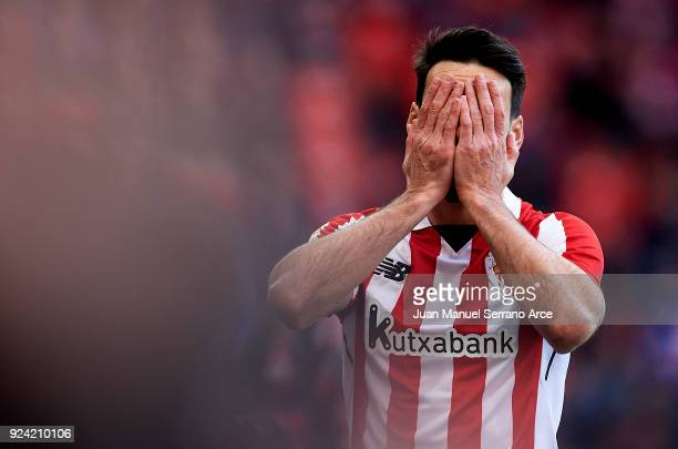 Aritz Aduriz of Athletic Club reacts during the La Liga match between Athletic Club Bilbao and Malaga CF at San Mames Stadium on February 25 2018 in...