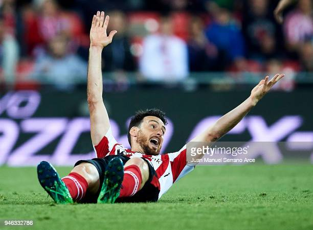 Aritz Aduriz of Athletic Club reacts during the La Liga match between Athletic Club Bilbao and RC Deportivo La Coruna at San Mames Stadium on April...