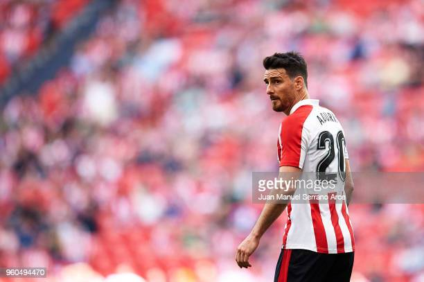 Aritz Aduriz of Athletic Club reacts during the La Liga match between Athletic Club and RCD Espanyol at San Mames Stadium on May 20 2018 in Bilbao...