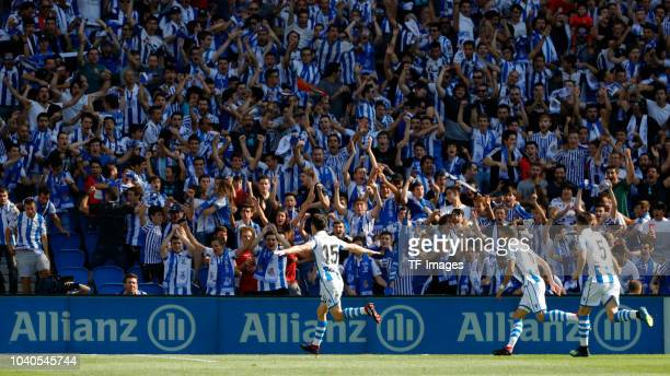Aritz Elustondo of Real Sociedad celebrates after scoring a goal during the La Liga match between Real Sociedad and FC Barcelona at Estadio Anoeta on...