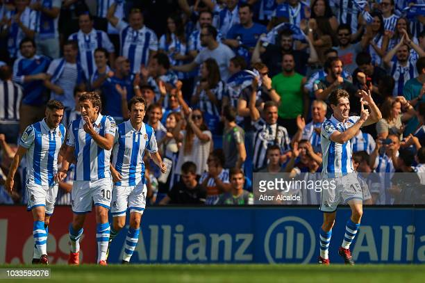 Aritz Elustondo of Real Sociedad celebrates after scoring during the La Liga match between Real Sociedad and FC Barcelona at Estadio Anoeta on...