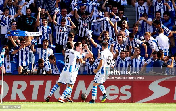 Aritz Elustondo of Real Sociedad celebrates after scoring goal during the La Liga match between Real Sociedad de Futbol and FC Barcelona at Estadio...