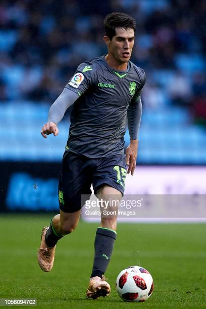 Aritz Elustondo of Real Sociedad controls the ball during the Spanish Copa del Rey match between Real Club Celta v Real Sociedad at Estadio Balaidos...