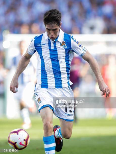 Aritz Elustondo of Real Sociedad Futbol during the La Liga Santander match between Real Sociedad v FC Barcelona at the Estadio Anoeta on September 15...