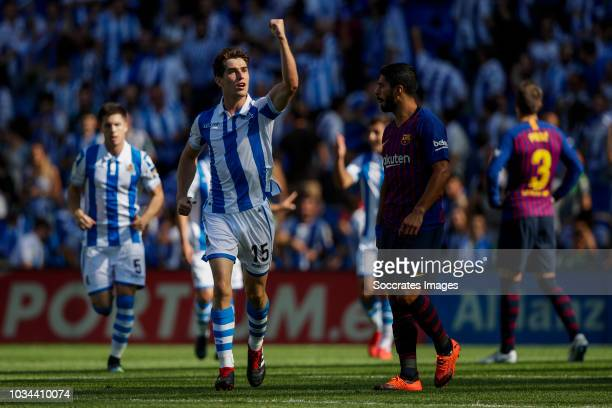 Aritz Elustondo of Real Sociedad Futbol Luis Alberto Suarez Diaz of FC Barcelona during the La Liga Santander match between Real Sociedad v FC...