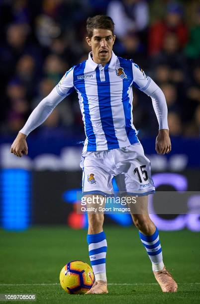 Aritz Elustondo of Real Sociedad in action during the La Liga match between Levante UD and Real Sociedad at Ciutat de Valencia on November 9 2018 in...