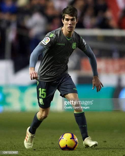 Aritz Elustondo of Real Sociedad in action during the La Liga match between Rayo Vallecano de Madrid and Real Sociedad at Campo de Futbol de Vallecas...