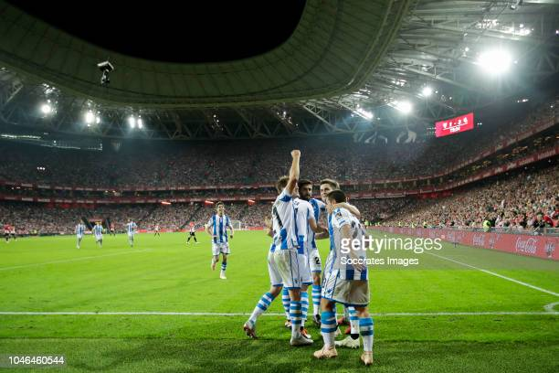 Aritz Elustondo of Real Sociedad Jon Bautista of Real Sociedad David Zurutuza of Real Sociedad Raul Navas of Real Sociedad Gorosabel of Real Sociedad...