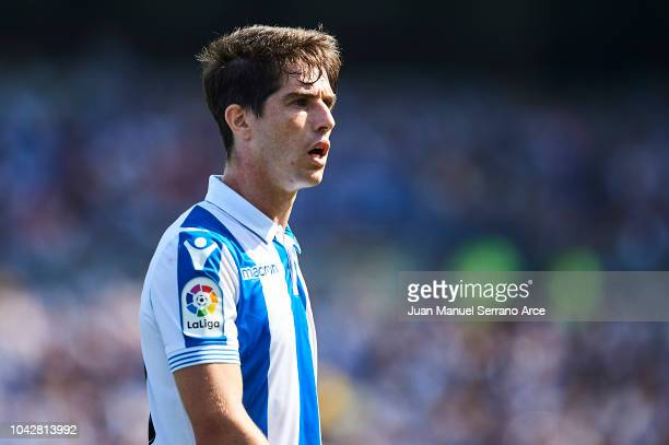 Aritz Elustondo of Real Sociedad looks on during the La Liga match between Real Sociedad and Valencia CF at Estadio Anoeta on September 29 2018 in...