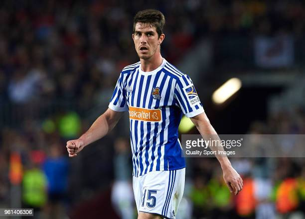 Aritz Elustondo of Real Sociedad looks on during the La Liga match between Barcelona and Real Sociedad at Camp Nou on May 20 2018 in Barcelona Spain