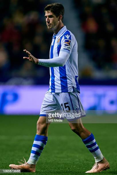 Aritz Elustondo of Real Sociedad reacts during the La Liga match between Levante UD and Real Sociedad at Ciutat de Valencia on November 9 2018 in...