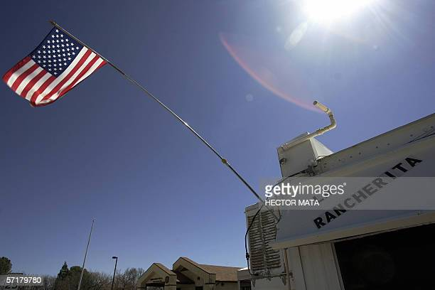 A US flag is displayed on the La Rancherita foodtruck in the border city of Arivaca Arizona 22 March 2006 The Border Action Network an organization...