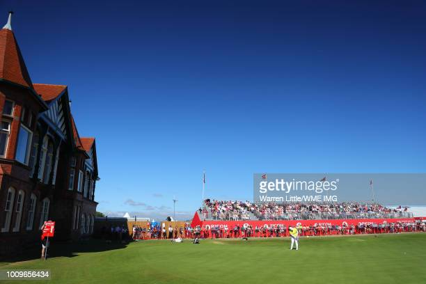 Ariya Jatunugam of Thailand putts on the 18th green during the first round of the Ricoh Women's British Open at Royal Lytham St Annes on August 2...