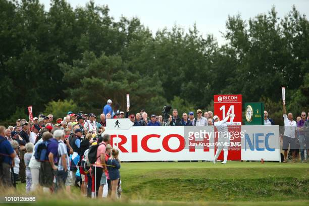 Ariya Jatunugam of Thailand tees off on the 14th hole during the second round of the Ricoh Women's British Open at Royal Lytham St Annes on August 3...