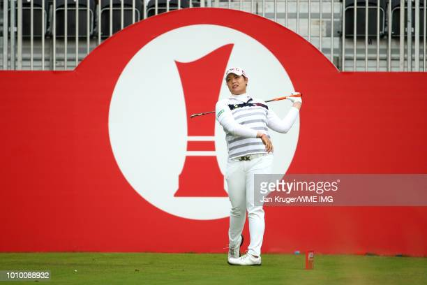 Ariya Jatunugam of Thailand tees off on the 1st hole during the second round of the Ricoh Women's British Open at Royal Lytham St Annes on August 3...