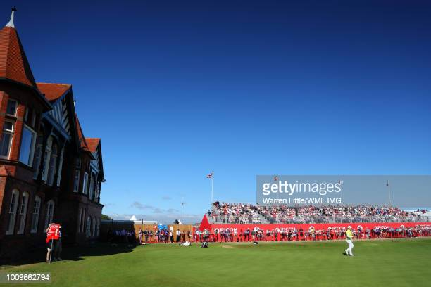 Ariya Jatunugam of Thailand walks on the 18th green during the first round of the Ricoh Women's British Open at Royal Lytham St Annes on August 2...