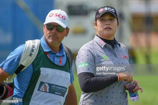 Ariya Jutanugarn heads down 1 during round 4 play of the Indy Women in Tech Championship on August 19 2018 at Brickyard Crossing Golf Club...