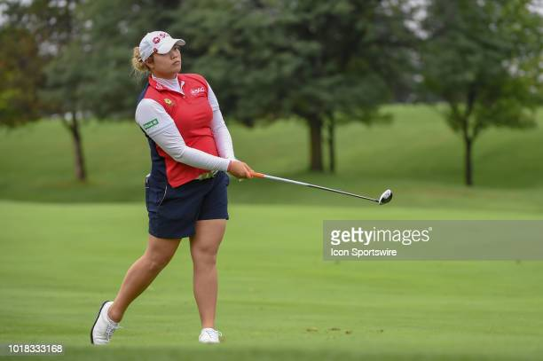 Ariya Jutanugarn hits her second shot on 10 during round 2 play of the Indy Women in Tech Championship on August 17 2018 at Brickyard Crossing Golf...