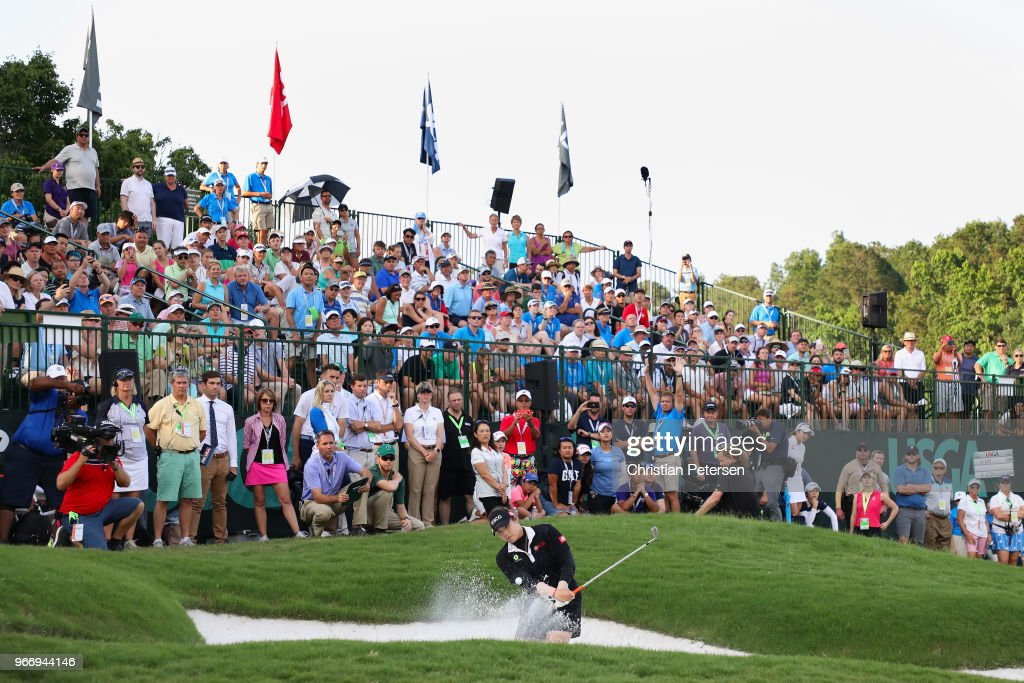 Ariya Jutanugarn of Thailand chips from the bunker on the fourth playoff hole during the final round of the 2018 U.S. Women's Open at Shoal Creek on June 3, 2018 in Shoal Creek, Alabama.