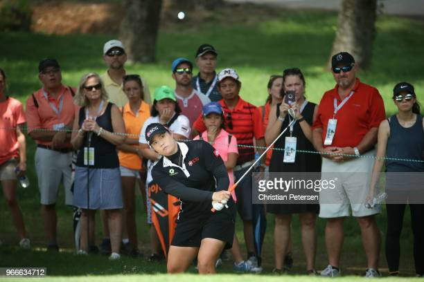 Ariya Jutanugarn of Thailand chips onto the second green during the final round of the 2018 US Women's Open at Shoal Creek on June 3 2018 in Shoal...