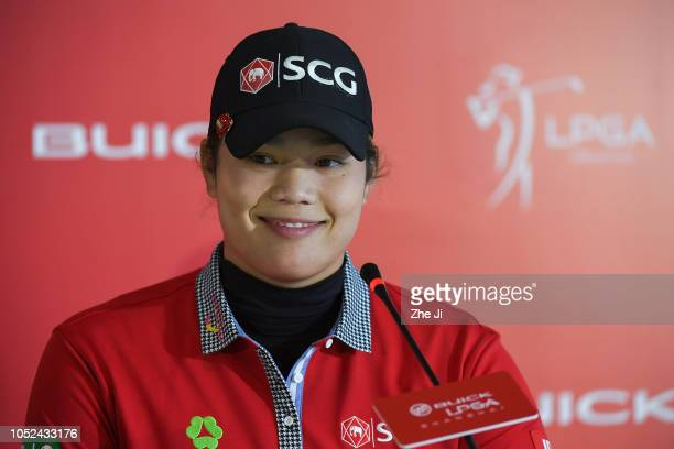 Ariya Jutanugarn of Thailand during a press conference the Buick LPGA Shanghai at Shanghai Qizhong Garden Golf Club on October 18 2018 in Shanghai...