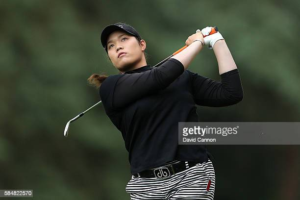 Ariya Jutanugarn of Thailand hits her second shot on the 1st hole during the final round of the Ricoh Women's British Open at Woburn Golf Club on...