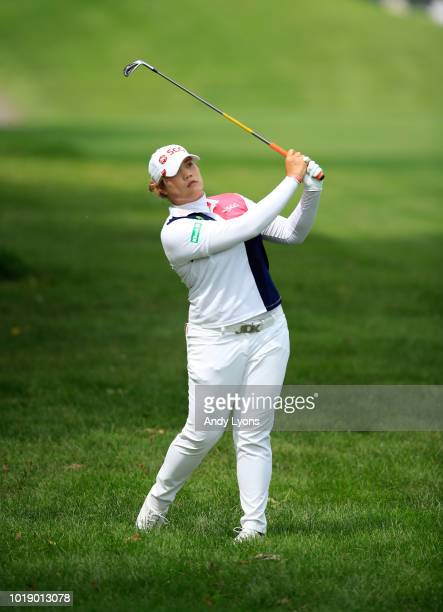 Ariya Jutanugarn of Thailand hits her second shot on the 6th hole during the third round of the Indy Women In Tech Championship Driven by Group 1001...