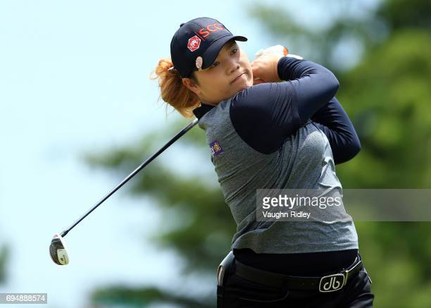 Ariya Jutanugarn of Thailand hits her tee shot on the 2nd hole during the final round of the Manulife LPGA Classic at Whistle Bear Golf Club on June...