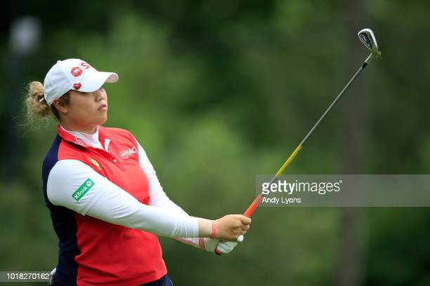 Ariya Jutanugarn of Thailand hits her tee shot on the 7th hole during the second round of the Indy Women In Tech Championship Driven by Group 1001 at...