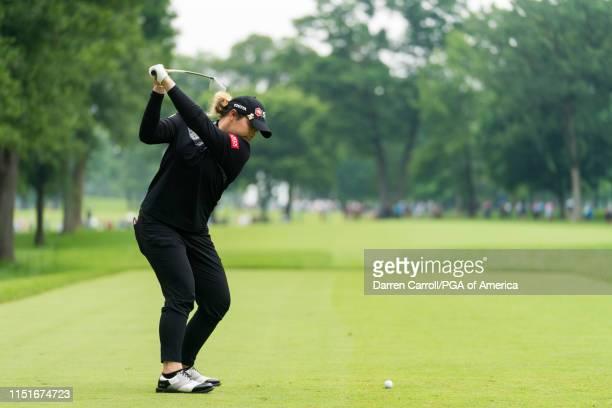 Ariya Jutanugarn of Thailand hits her tee shot on the sixth hole during the final round for the 65th KPMG Womens PGA Championship held at Hazeltine...