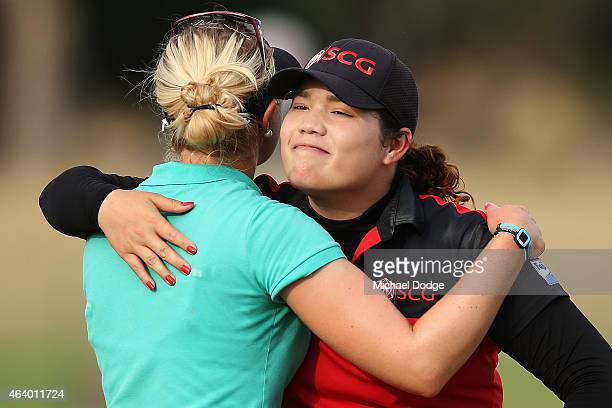 Ariya Jutanugarn of Thailand hugs Charley Hull of England after finishing equal leader during day three of the LPGA Australian Open at Royal...