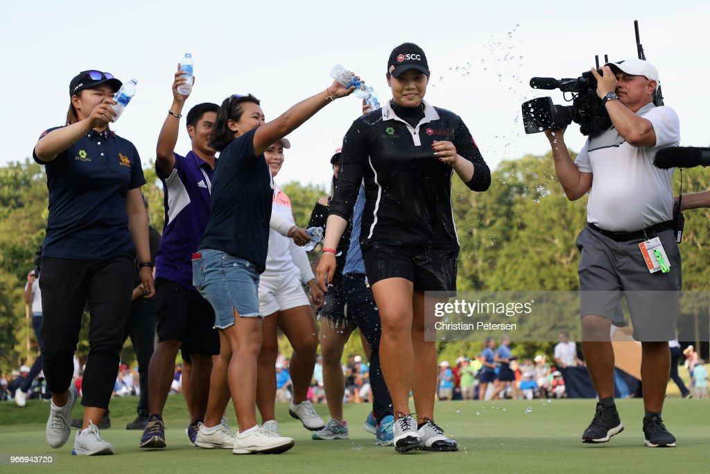 Ariya Jutanugarn of Thailand is doused with water after winning the 2018 U.S. Women's Open at Shoal Creek on June 3, 2018 in Shoal Creek, Alabama.