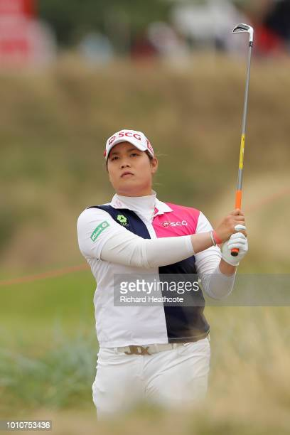 Ariya Jutanugarn of Thailand looks on after playing her second shot on the 4th hole during day three of Ricoh Women's British Open at Royal Lytham St...