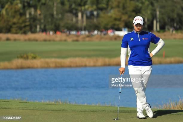 Ariya Jutanugarn of Thailand looks on on the 18th hole during the third round of the LPGA CME Group Tour Championship at Tiburon Golf Club on...