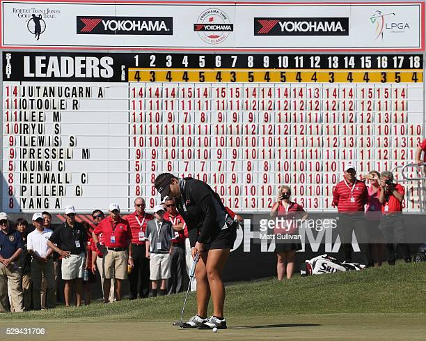 Ariya Jutanugarn of Thailand makes her par putt on the 18th hole to win the Yokohama Tire Classic on May 08, 2016 in Prattville, Alabama.