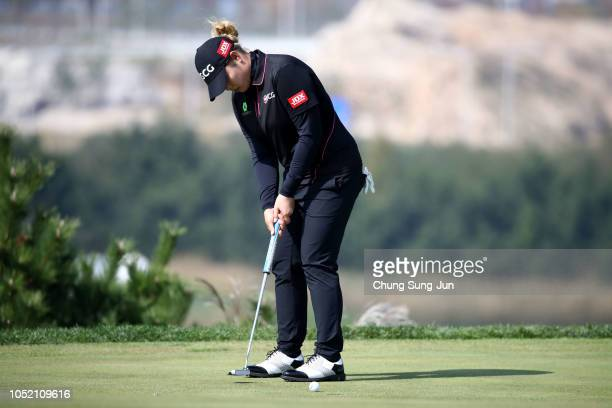 Ariya Jutanugarn of Thailand plays a putt on the 6th hole during the final round of the LPGA KEB Hana Bank Championship at Sky 72 Golf Club on...
