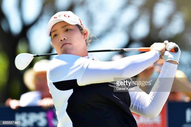 Ariya Jutanugarn of Thailand plays a shot during round one of the ISPS Handa Women's Australian Open at Royal Adelaide Golf Club on February 16 2017...