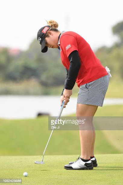 Ariya Jutanugarn of Thailand plays a shot during the first round of the Buick LPGA Shanghai at Shanghai Qizhong Garden Golf Club on October 18 2018...