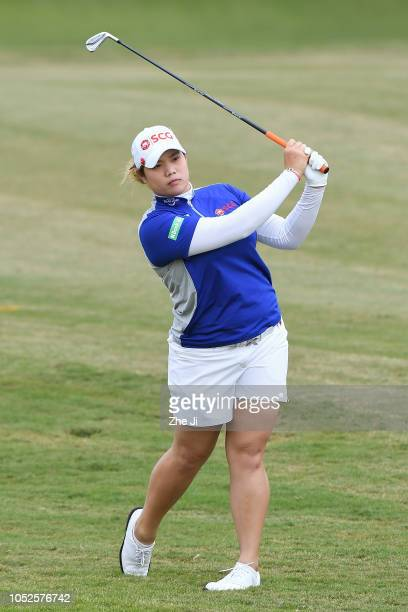 Ariya Jutanugarn of Thailand plays a shot during the third round of the Buick LPGA Shanghai 2018 at Shanghai Qizhong Garden Golf Club on October 20...