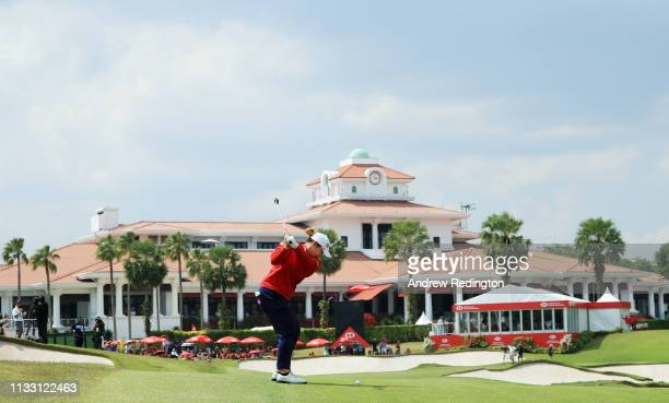 Ariya Jutanugarn of Thailand plays a shot on the 18th hole during the third round of the HSBC Women's World Championship at Sentosa Golf Club on...