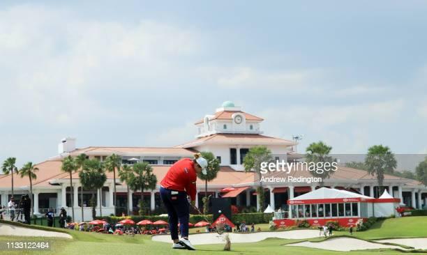 Ariya Jutanugarn of Thailand plays a shot on the 18th hole during the third round of the HSBC Women's World Championship at Sentosa Golf Club on...