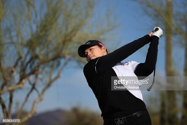 Ariya Jutanugarn of Thailand plays a tee shot on the 13th hole during the final round of the Bank Of Hope Founders Cup at Wildfire Golf Club on March...