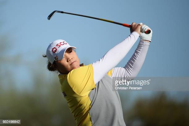 Ariya Jutanugarn of Thailand plays a tee shot on the 14th hole during the first round of the Bank Of Hope Founders Cup at Wildfire Golf Club on March...