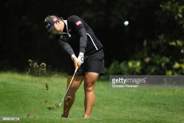 Ariya Jutanugarn of Thailand plays a tee shot on the eighth hole during the final round of the 2018 US Women's Open at Shoal Creek on June 3 2018 in...