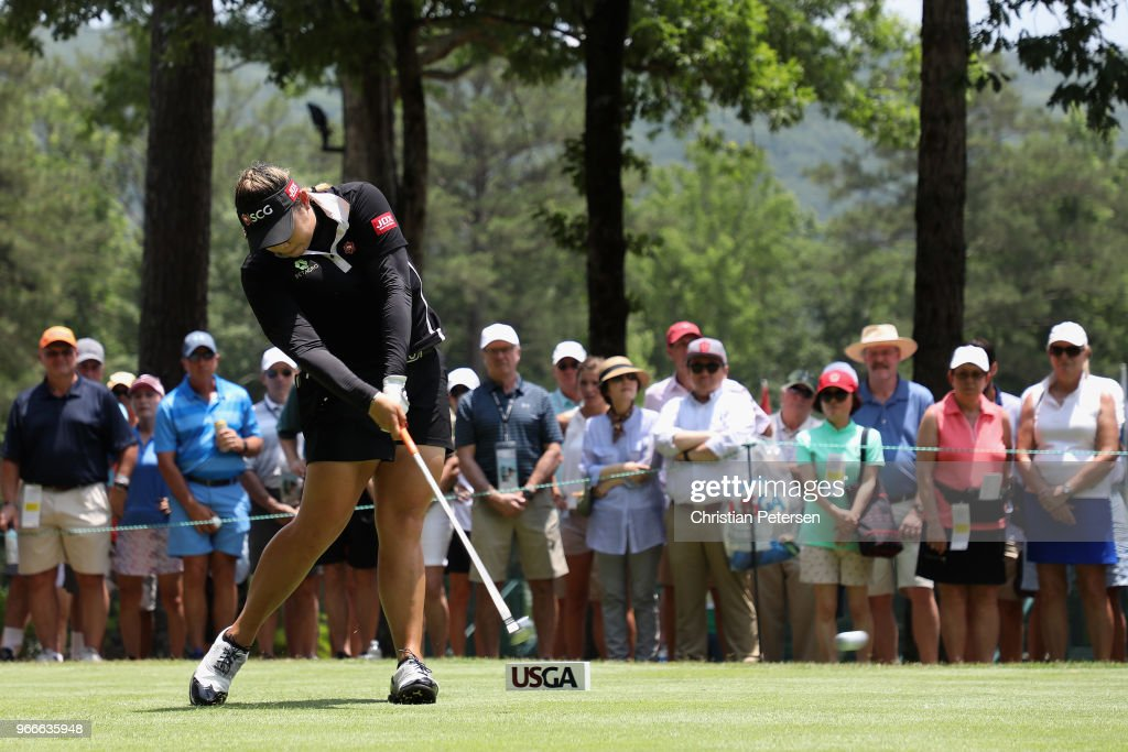 Ariya Jutanugarn of Thailand plays a tee shot on the first hole during the final round of the 2018 U.S. Women's Open at Shoal Creek on June 3, 2018 in Shoal Creek, Alabama.