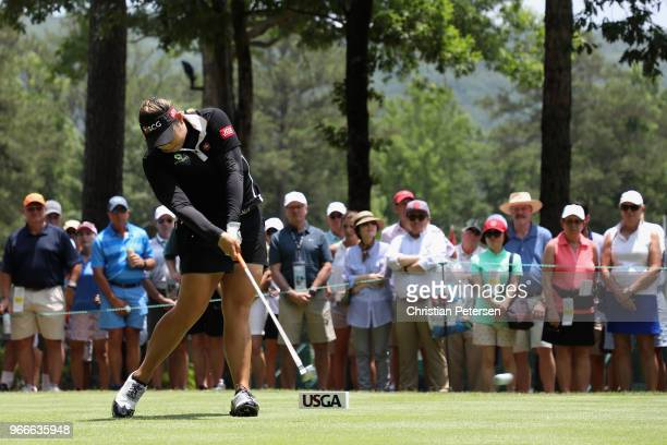 Ariya Jutanugarn of Thailand plays a tee shot on the first hole during the final round of the 2018 US Women's Open at Shoal Creek on June 3 2018 in...