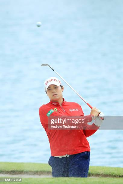 Ariya Jutanugarn of Thailand plays her second shot on the 15th hole during the third round of the HSBC Women's World Championship at Sentosa Golf...